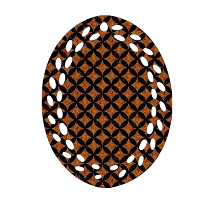 CIRCLES3 BLACK MARBLE & RUSTED METAL Ornament (Oval Filigree)