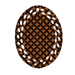Circles3 Black Marble & Rusted Metal Oval Filigree Ornament (two Sides)