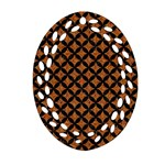 CIRCLES3 BLACK MARBLE & RUSTED METAL Oval Filigree Ornament (Two Sides) Front