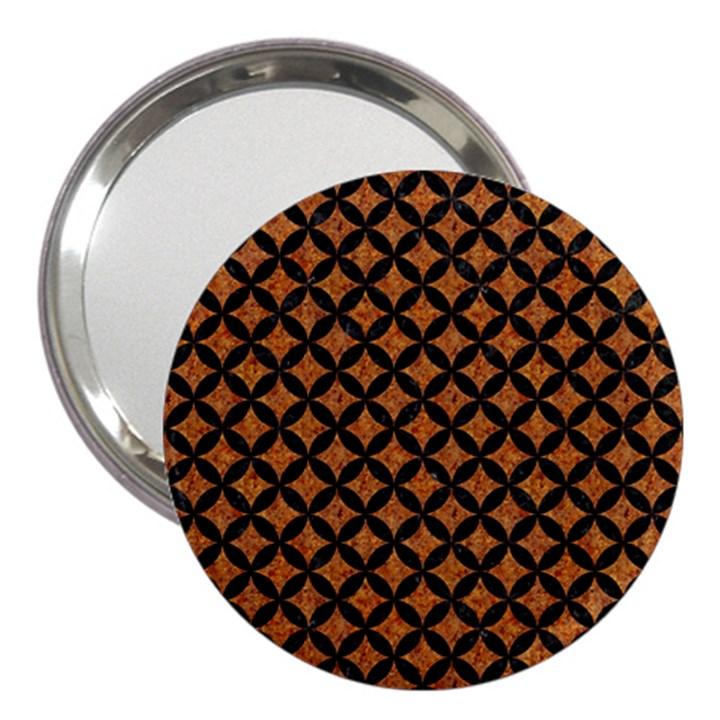 CIRCLES3 BLACK MARBLE & RUSTED METAL 3  Handbag Mirrors