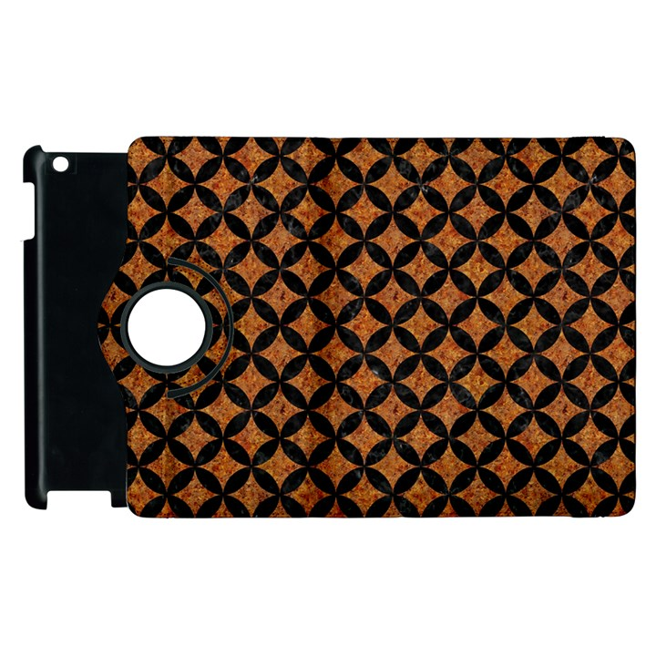 CIRCLES3 BLACK MARBLE & RUSTED METAL Apple iPad 2 Flip 360 Case