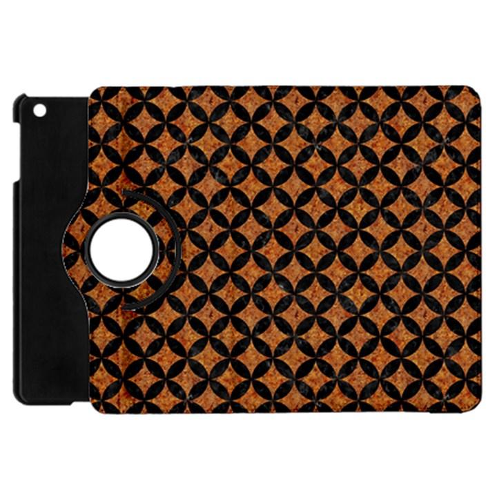 CIRCLES3 BLACK MARBLE & RUSTED METAL Apple iPad Mini Flip 360 Case