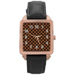 CIRCLES3 BLACK MARBLE & RUSTED METAL Rose Gold Leather Watch  Front