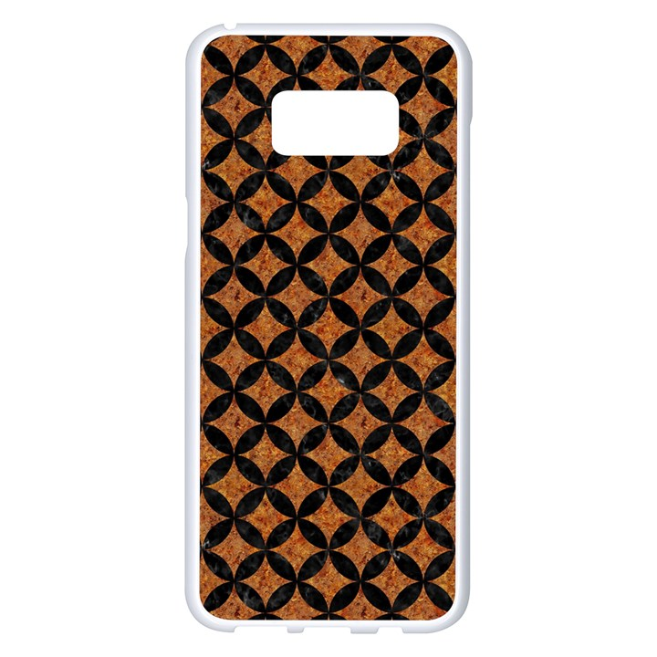 CIRCLES3 BLACK MARBLE & RUSTED METAL Samsung Galaxy S8 Plus White Seamless Case