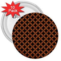 Circles3 Black Marble & Rusted Metal (r) 3  Buttons (10 Pack)
