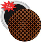 CIRCLES3 BLACK MARBLE & RUSTED METAL (R) 3  Magnets (10 pack)  Front