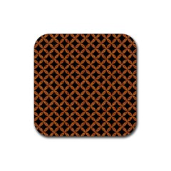 Circles3 Black Marble & Rusted Metal (r) Rubber Square Coaster (4 Pack)