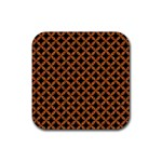 CIRCLES3 BLACK MARBLE & RUSTED METAL (R) Rubber Square Coaster (4 pack)  Front