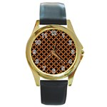 CIRCLES3 BLACK MARBLE & RUSTED METAL (R) Round Gold Metal Watch Front