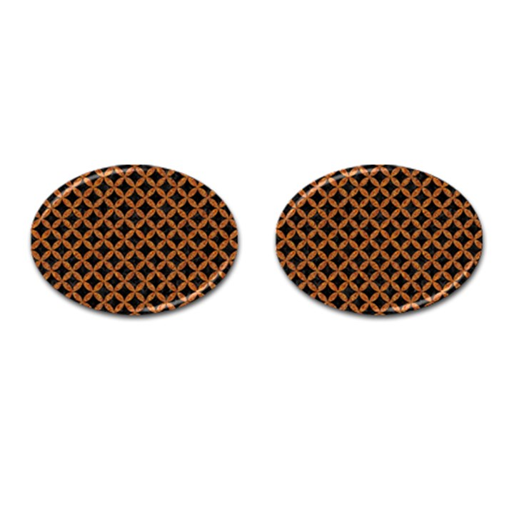 CIRCLES3 BLACK MARBLE & RUSTED METAL (R) Cufflinks (Oval)