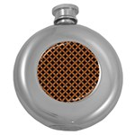 CIRCLES3 BLACK MARBLE & RUSTED METAL (R) Round Hip Flask (5 oz) Front