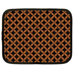 Circles3 Black Marble & Rusted Metal (r) Netbook Case (large)