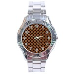 CIRCLES3 BLACK MARBLE & RUSTED METAL (R) Stainless Steel Analogue Watch Front