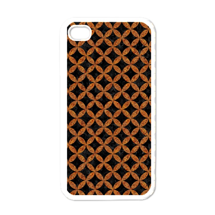 CIRCLES3 BLACK MARBLE & RUSTED METAL (R) Apple iPhone 4 Case (White)