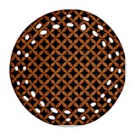 CIRCLES3 BLACK MARBLE & RUSTED METAL (R) Ornament (Round Filigree) Front