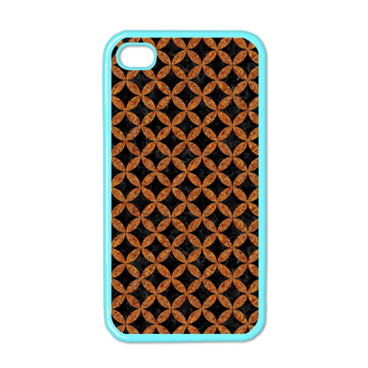 CIRCLES3 BLACK MARBLE & RUSTED METAL (R) Apple iPhone 4 Case (Color)