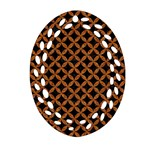 CIRCLES3 BLACK MARBLE & RUSTED METAL (R) Ornament (Oval Filigree) Front