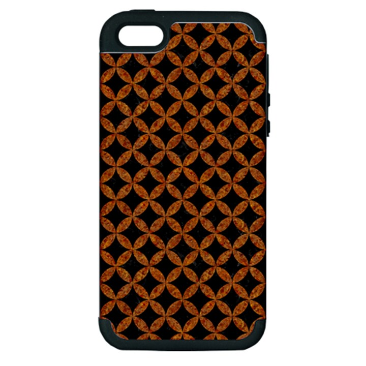 CIRCLES3 BLACK MARBLE & RUSTED METAL (R) Apple iPhone 5 Hardshell Case (PC+Silicone)
