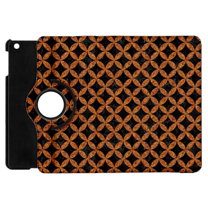 CIRCLES3 BLACK MARBLE & RUSTED METAL (R) Apple iPad Mini Flip 360 Case