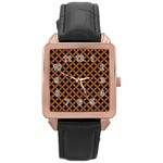 CIRCLES3 BLACK MARBLE & RUSTED METAL (R) Rose Gold Leather Watch  Front