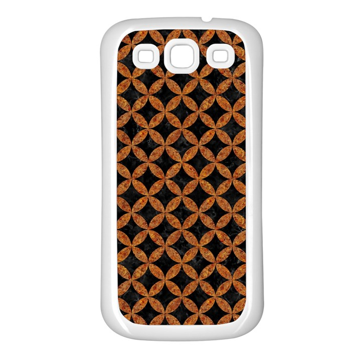 CIRCLES3 BLACK MARBLE & RUSTED METAL (R) Samsung Galaxy S3 Back Case (White)