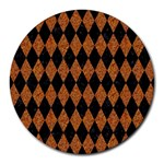 DIAMOND1 BLACK MARBLE & RUSTED METAL Round Mousepads Front