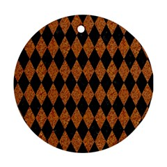 Diamond1 Black Marble & Rusted Metal Ornament (round)