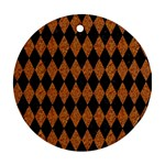 DIAMOND1 BLACK MARBLE & RUSTED METAL Ornament (Round) Front