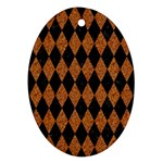 DIAMOND1 BLACK MARBLE & RUSTED METAL Ornament (Oval) Front