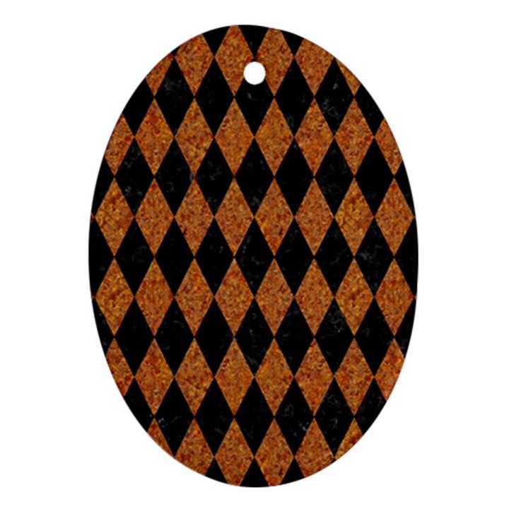 DIAMOND1 BLACK MARBLE & RUSTED METAL Ornament (Oval)