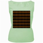 DIAMOND1 BLACK MARBLE & RUSTED METAL Women s Green Tank Top Front