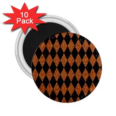 Diamond1 Black Marble & Rusted Metal 2 25  Magnets (10 Pack)