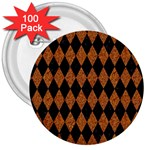 DIAMOND1 BLACK MARBLE & RUSTED METAL 3  Buttons (100 pack)  Front