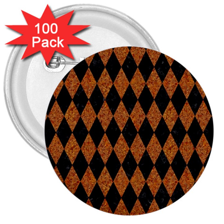 DIAMOND1 BLACK MARBLE & RUSTED METAL 3  Buttons (100 pack)