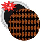DIAMOND1 BLACK MARBLE & RUSTED METAL 3  Magnets (100 pack) Front