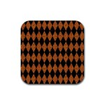 DIAMOND1 BLACK MARBLE & RUSTED METAL Rubber Coaster (Square)  Front