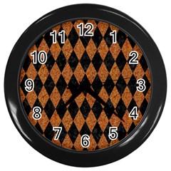 Diamond1 Black Marble & Rusted Metal Wall Clocks (black)