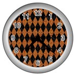 DIAMOND1 BLACK MARBLE & RUSTED METAL Wall Clocks (Silver)  Front