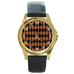 DIAMOND1 BLACK MARBLE & RUSTED METAL Round Gold Metal Watch Front