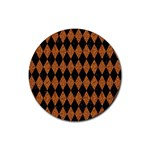 DIAMOND1 BLACK MARBLE & RUSTED METAL Rubber Round Coaster (4 pack)  Front
