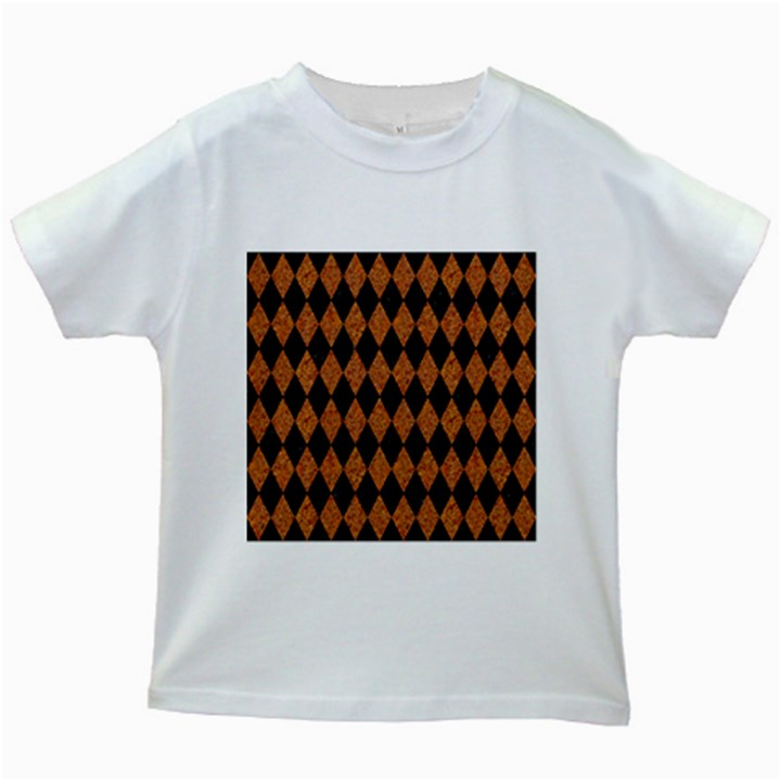 DIAMOND1 BLACK MARBLE & RUSTED METAL Kids White T-Shirts