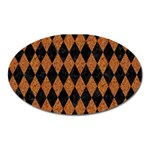 DIAMOND1 BLACK MARBLE & RUSTED METAL Oval Magnet Front