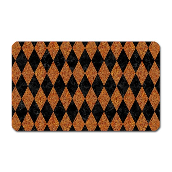 DIAMOND1 BLACK MARBLE & RUSTED METAL Magnet (Rectangular)