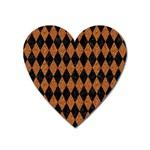 DIAMOND1 BLACK MARBLE & RUSTED METAL Heart Magnet Front