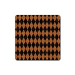 DIAMOND1 BLACK MARBLE & RUSTED METAL Square Magnet Front