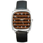 DIAMOND1 BLACK MARBLE & RUSTED METAL Square Metal Watch Front