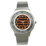 DIAMOND1 BLACK MARBLE & RUSTED METAL Stainless Steel Watch Front