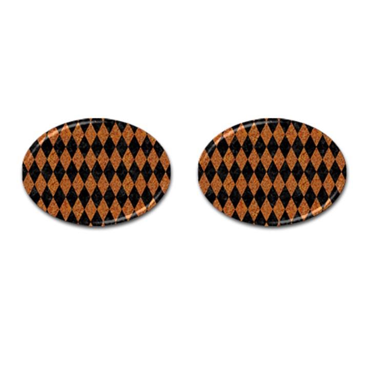 DIAMOND1 BLACK MARBLE & RUSTED METAL Cufflinks (Oval)