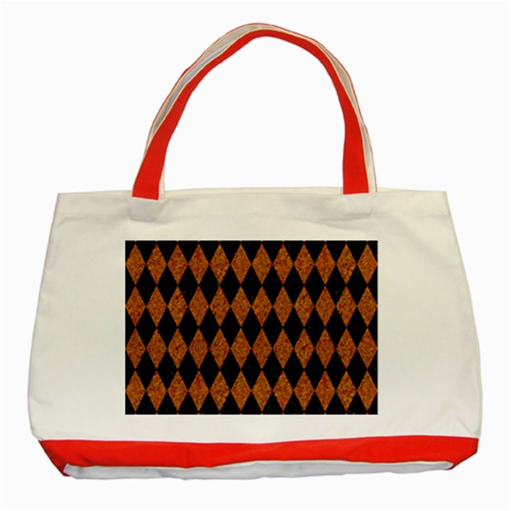 DIAMOND1 BLACK MARBLE & RUSTED METAL Classic Tote Bag (Red)
