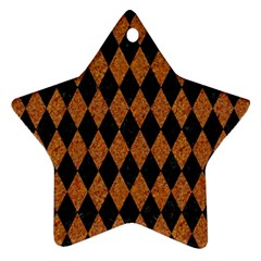 Diamond1 Black Marble & Rusted Metal Star Ornament (two Sides)